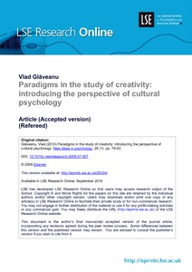 Paradigms in the study of creativity: introducing the perspective of