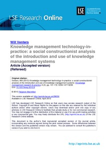knowledge management technology in practice a social