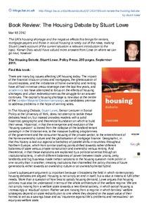 the housing debate lowe stuart