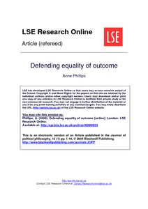 Defending equality of outcome - LSE Research Online