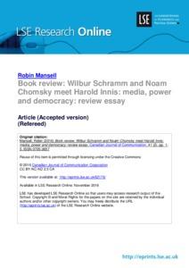 book review wilbur schramm and noam chomsky meet harold innis book review wilbur schramm and noam chomsky meet harold innis media power and democracy review essay