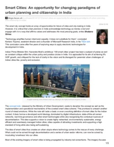 Smart cities: an opportunity for changing paradigms of urban