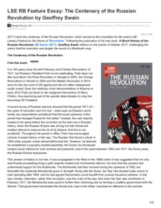 lse rb feature essay the centenary of the russian revolution by lse rb feature essay the centenary of the russian revolution by geoffrey swain