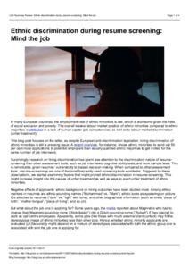 ethnic discrimination during resume screening mind the job - Resume Discrimination