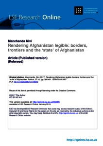 Rendering Afghanistan legible: borders, frontiers and the 'state' of